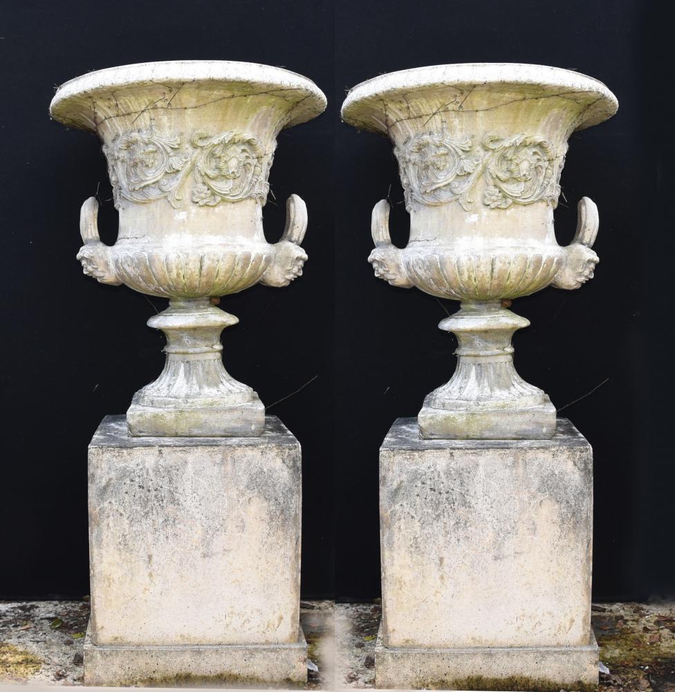 on charcoal itm img urn aged stone pedestal mpg entrance fluted black cast planters