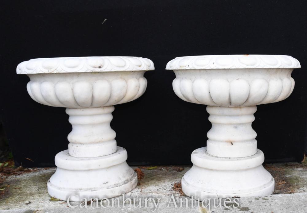 Pair English Stone Garden Urns Planters Pedestal Base