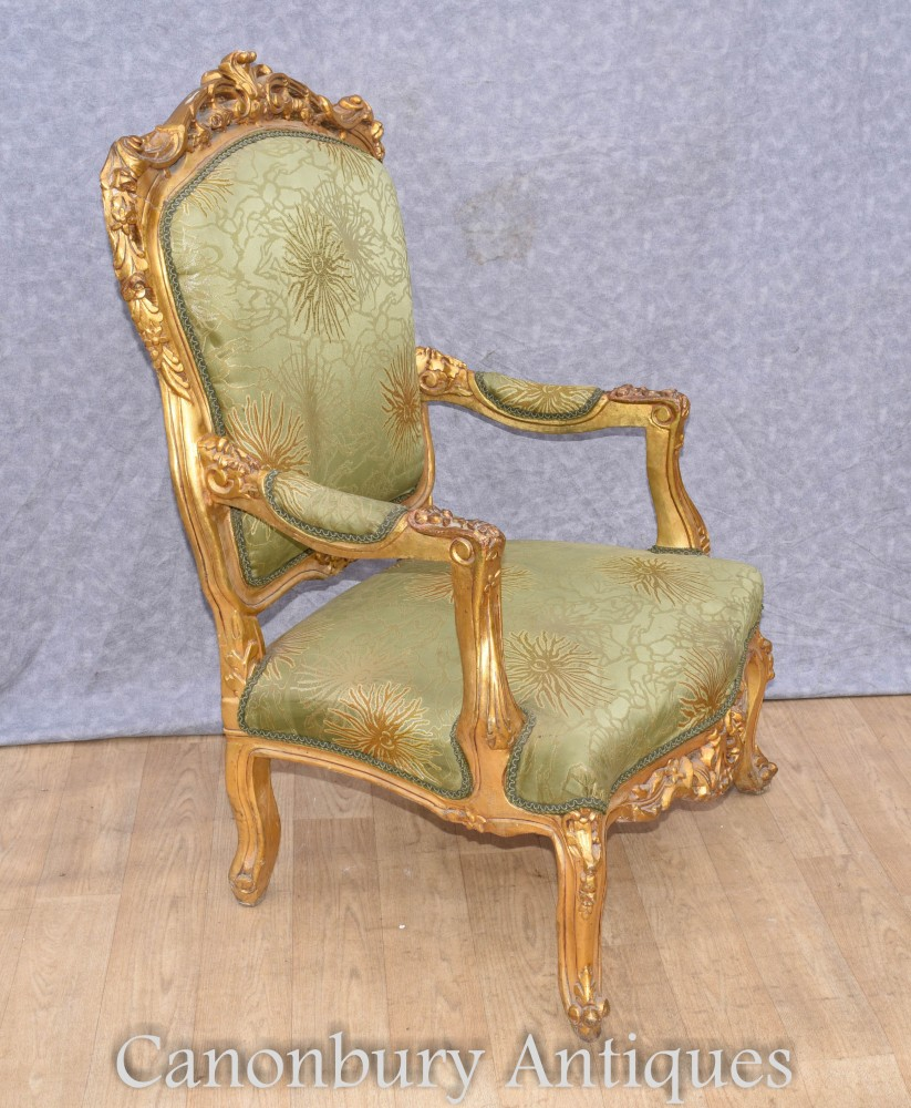Pair French Accent Chairs Empire Gilt Fauteuils