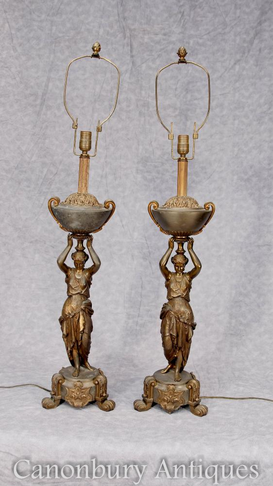 Pair French Antique Bronze Female Figurine Table Lamps Lights