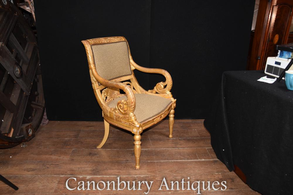 Pair French Antique Napoleon Gilt Arm Chairs Fauteuil