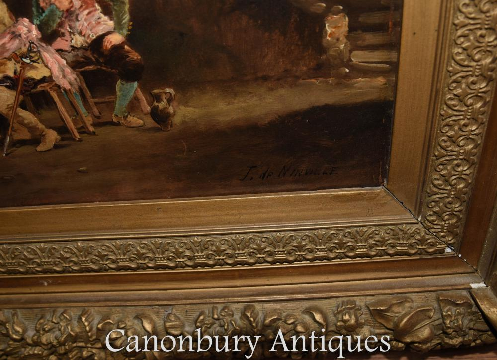 Pair French Antique Oil Paintings Cavalier Tavern Signed J