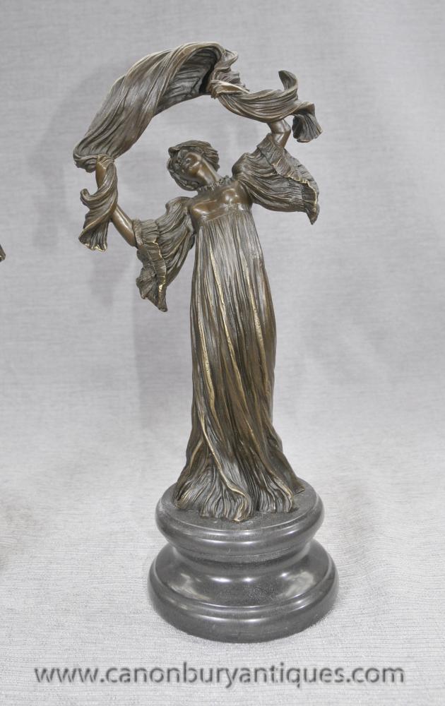 pair french art nouveau bronze figurines by loie fuller. Black Bedroom Furniture Sets. Home Design Ideas