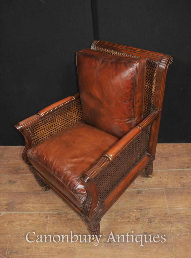 Pair French Bergere Mahogany Arm Chairs Sofa Chair