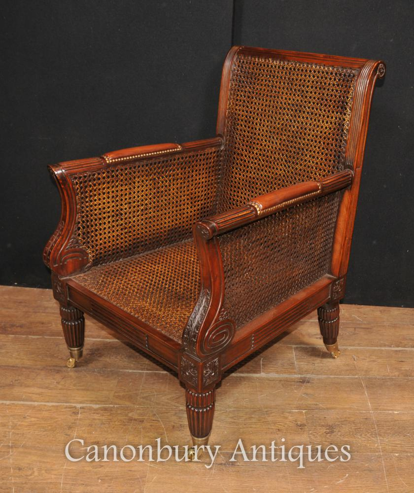 Pair french bergere mahogany arm chairs sofa chair for Table bergere