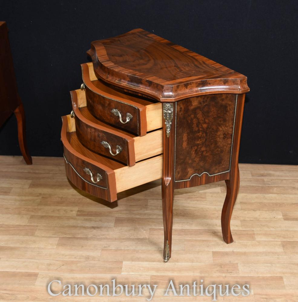 Pair french empire bedside table cabinets chests nightstands for French nightstand bedside table