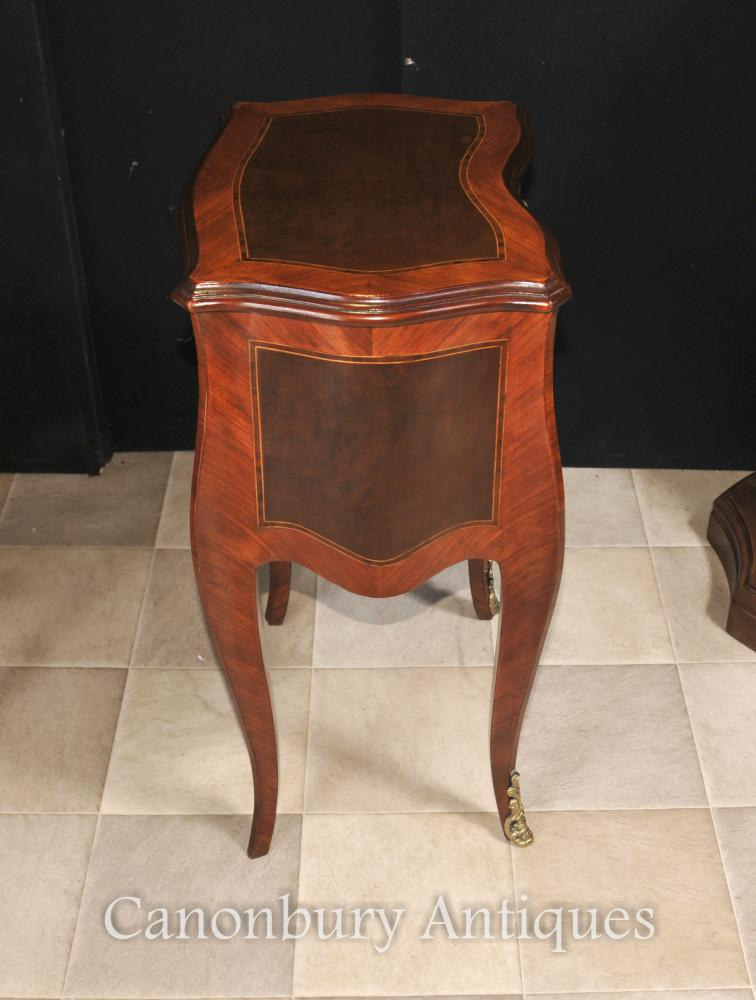 Pair french empire bedside chests cabinets nightstands table for French nightstand bedside table
