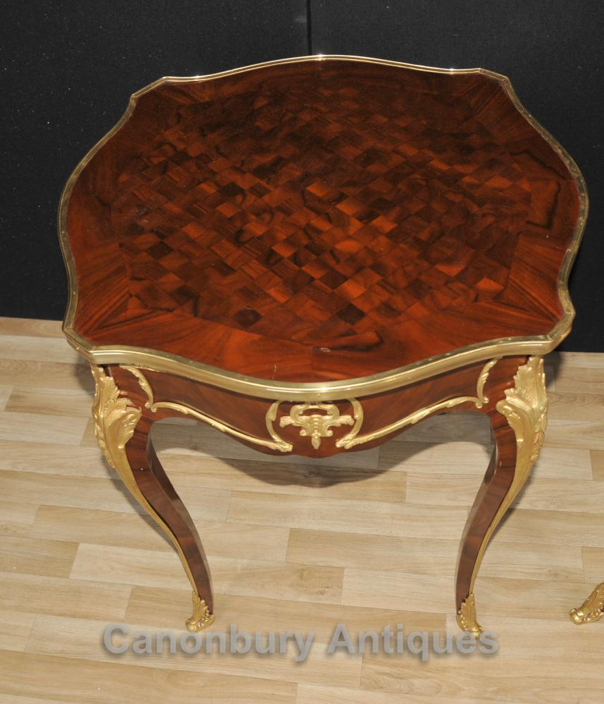 French Parquetry Coffee Table: Pair French Empire Cocktail Side Tables Parquetry Inlay