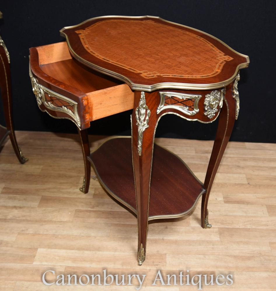 Empire Mirrored Coffee Table: Pair French Empire Cocktail Tables Side Table Parquetry Inlay