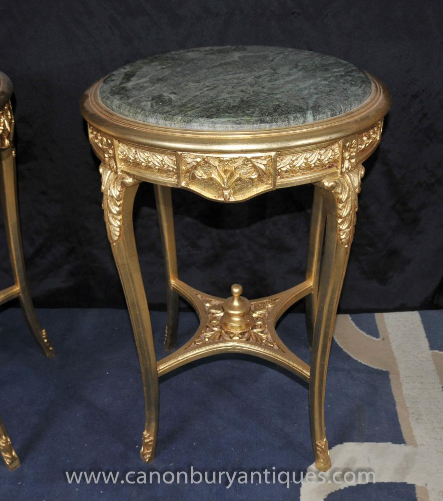 Empire Mirrored Coffee Table: Pair French Empire Gilt Side Tables Marble Topped Cocktail