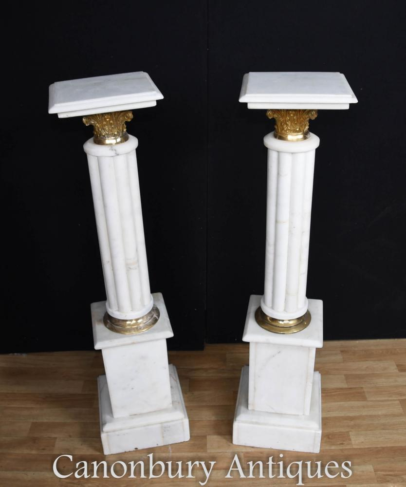 Pair french empire marble pedestal stands column tables for Table stand i 52 compose