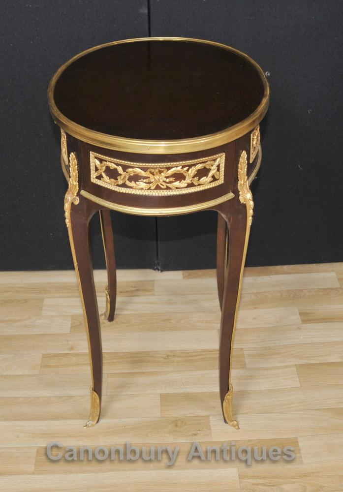 Pair French Empire Oval Side Tables Cocktail Table