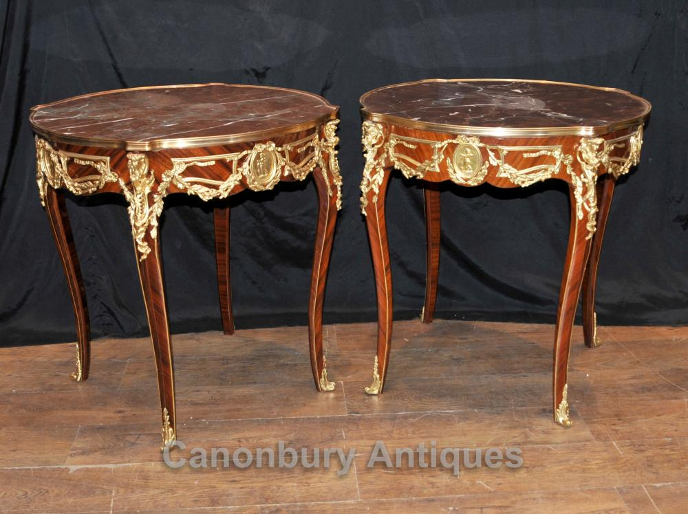 Pair French Empire Side Tables Cocktail Table Ormolu Marble