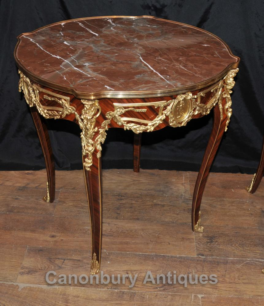 pair french empire side tables cocktail table ormolu marble. Black Bedroom Furniture Sets. Home Design Ideas