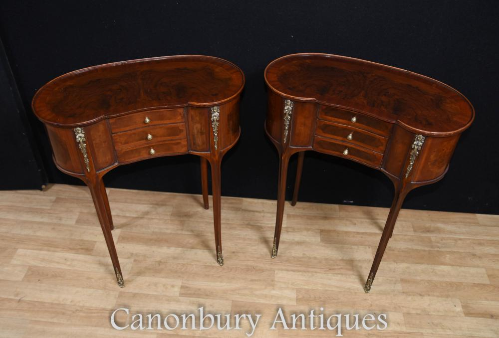 Pair french louis philippe kidney side table nightstands for Table louis philippe