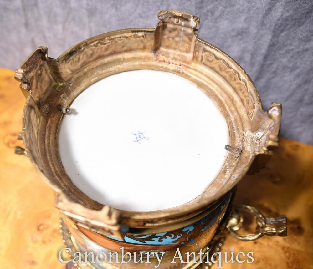pair french sevres porcelain floral planters cache pots. Black Bedroom Furniture Sets. Home Design Ideas