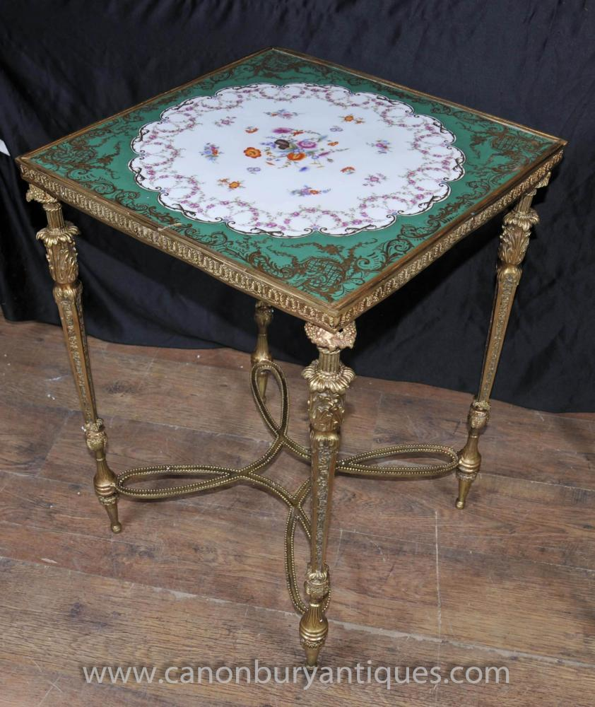 Round Coffee Table Pair: Pair French Sevres Porcelain Side Tables Ormolu Base
