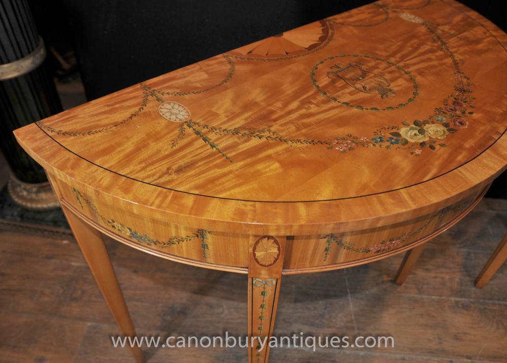 Pair hepplewhite demi lune console tables painted satinwood White demilune console table