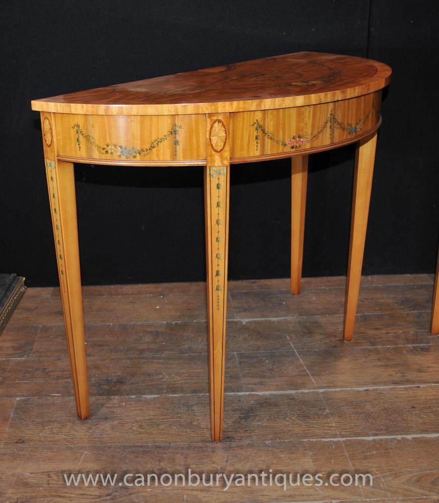 pair hepplewhite demi lune console tables painted satinwood. Black Bedroom Furniture Sets. Home Design Ideas