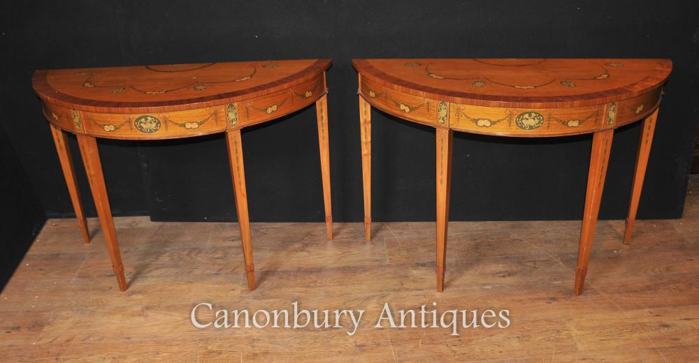 Pair Hepplewhite Demi Lune Painted Console Tables Satinwood | EBay