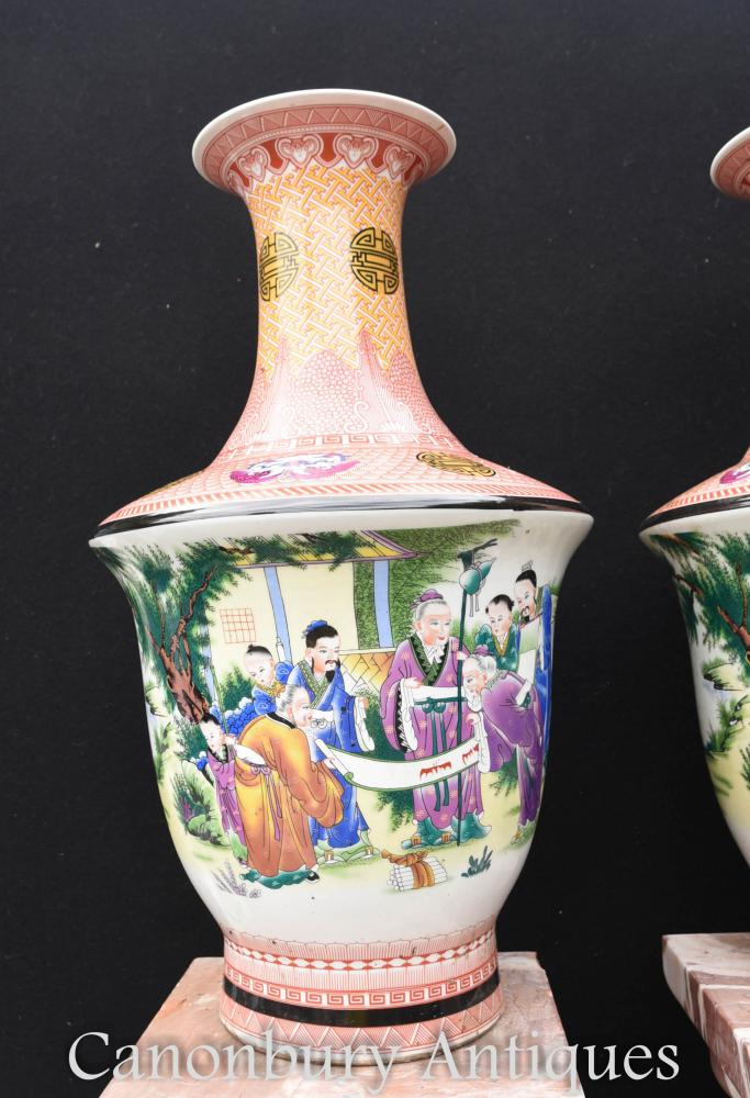 Pair Japanese Kutani Porcelain Vases Urns