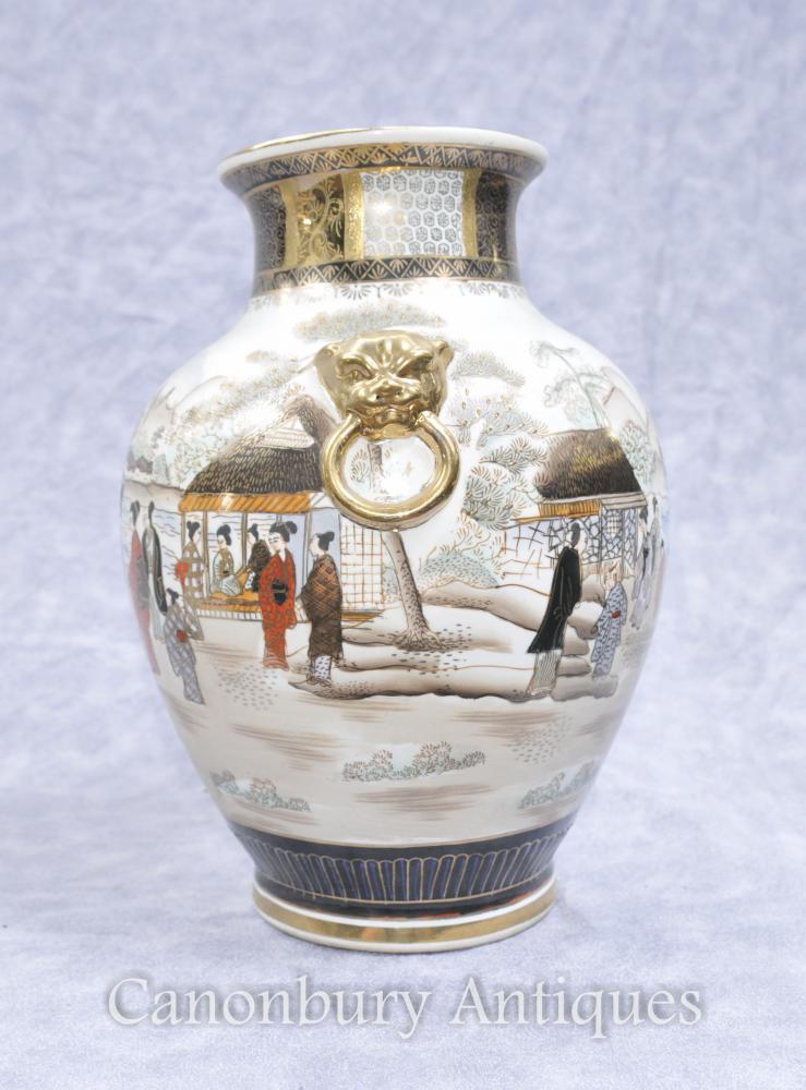 Pair Japanese Satsuma Porcelain Vases Urns Hand Painted