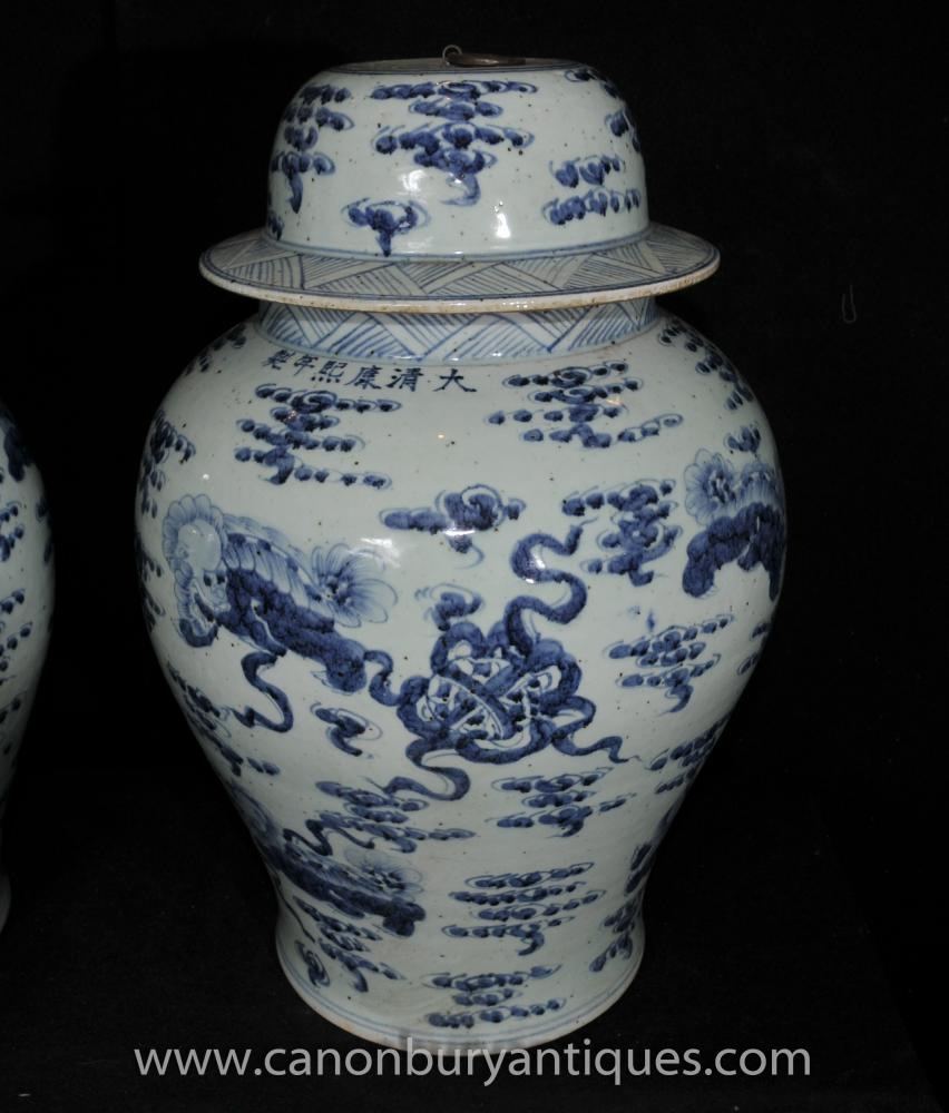 Pair Jingdezhen Blue And White Chinese Porcelain Ginger