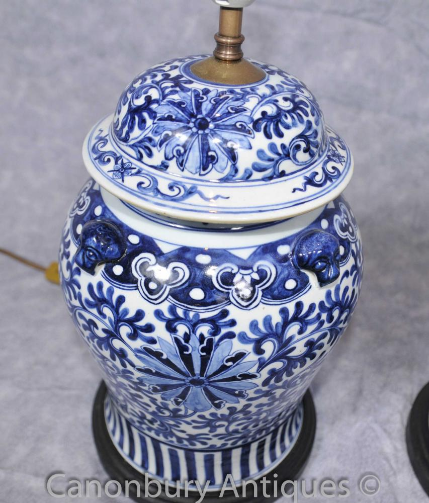 Pair Kangxi Blue And White Porcelain Table Lamps Lights