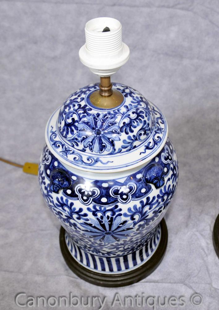 Pair Kangxi Blue and White Porcelain Table Lamps Lights ...