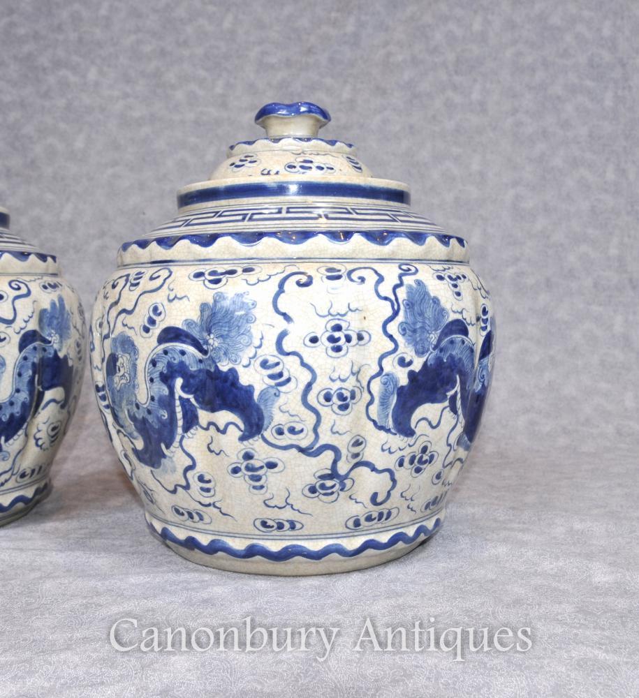Pair Kangxi Ceramic Lidded Urns Vases Pots Chinese Blue