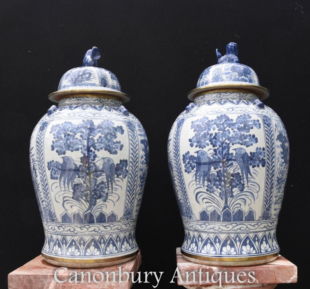 Pair Large Chinese Blue And White Porcelain Urns Ginger Jars