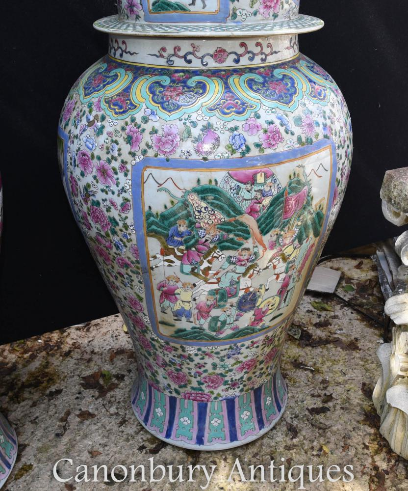 Pair large chinese porcelain ming ginger urns lidded vases shipping quote reviewsmspy