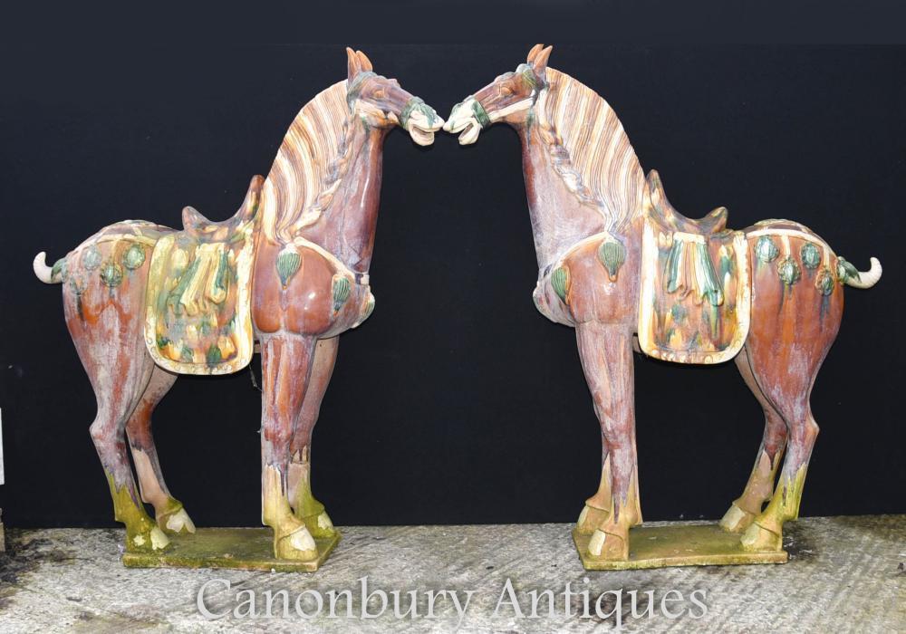 Pair Large Chinese Porcelain Tang Horses Pony Ceramic