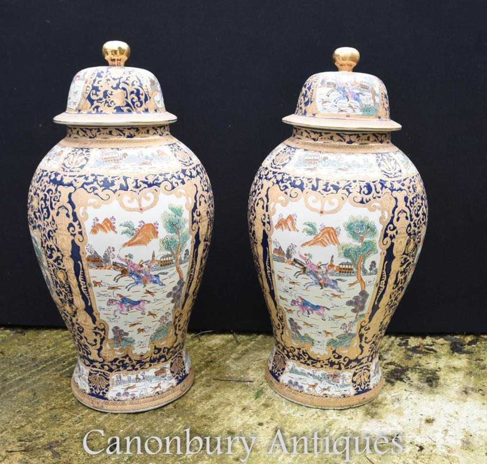 Pair Large Chinese Qing Porcelain Temple Ginger Jars