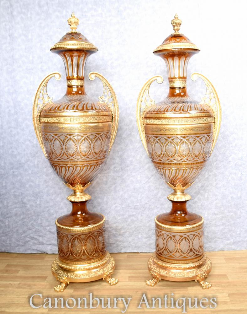 Pair large french cut glass urns on pedestal stands empire vases reviewsmspy