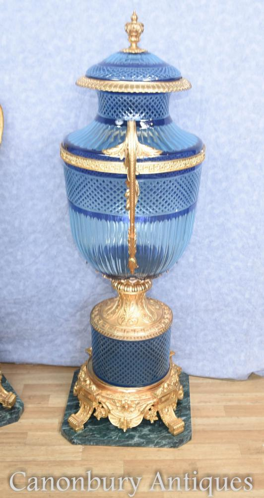 Pair Large Louis Xv Blue Cut Glass Vases Urns On Stands Ebay
