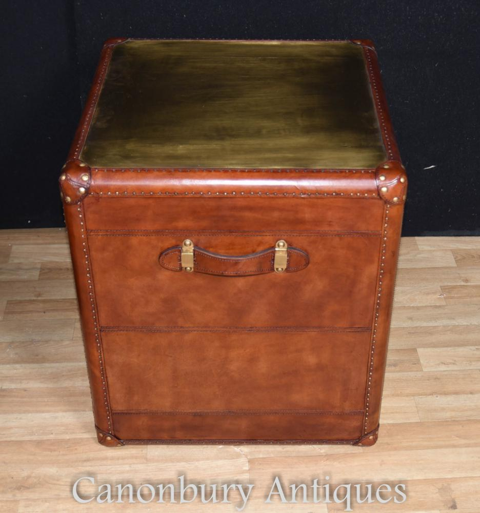 Pair Leather Campaign Bedside Chests Drawers Steamer Trunk