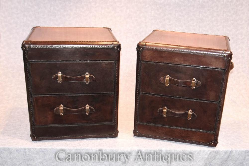 Pair Leather Campaign Chests Of Drawers Bedside