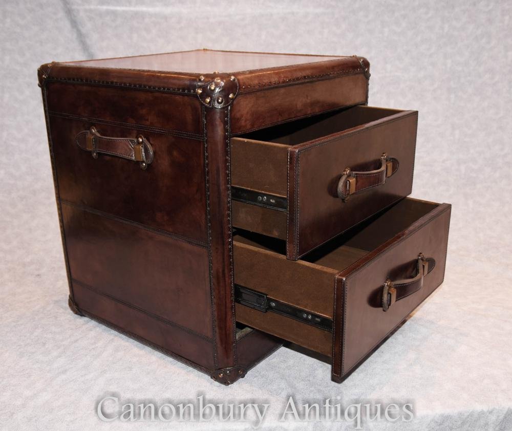 Pair Leather Campaign Chests Of Drawers Bedside Nightstands Colonial Furniture Ebay