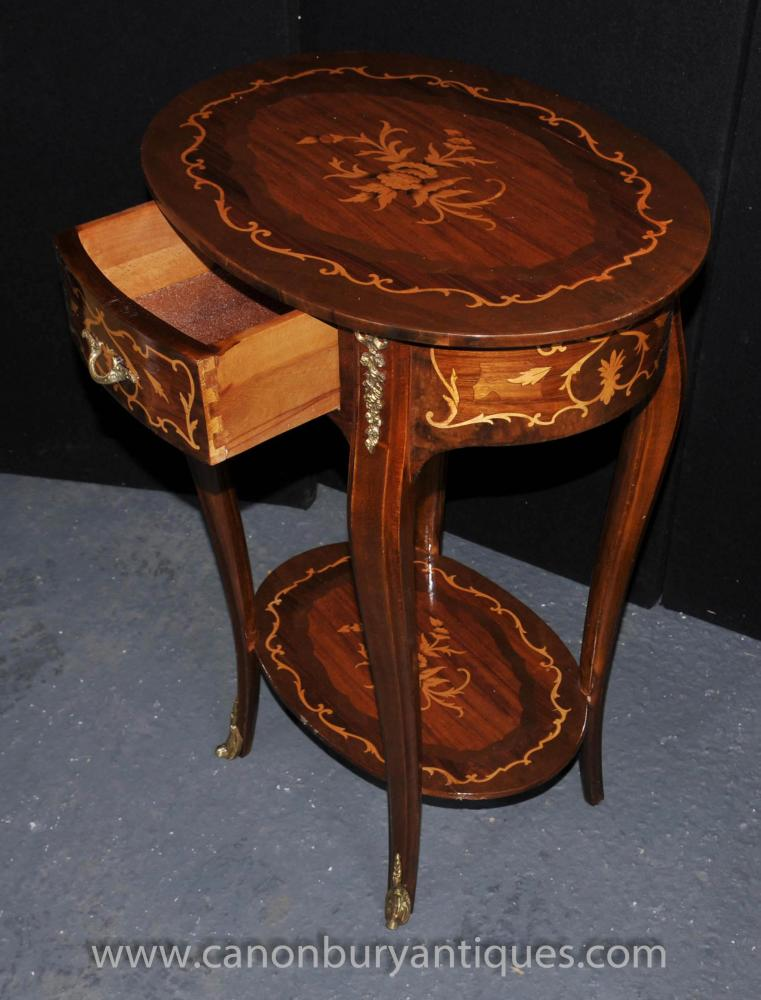Pair Louis Xv Side Tables French End Table Marquetry Inlay