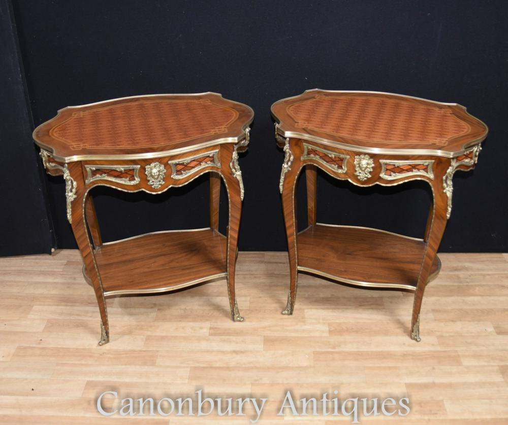 pair louis xvi side tables cocktail table furniture. Black Bedroom Furniture Sets. Home Design Ideas