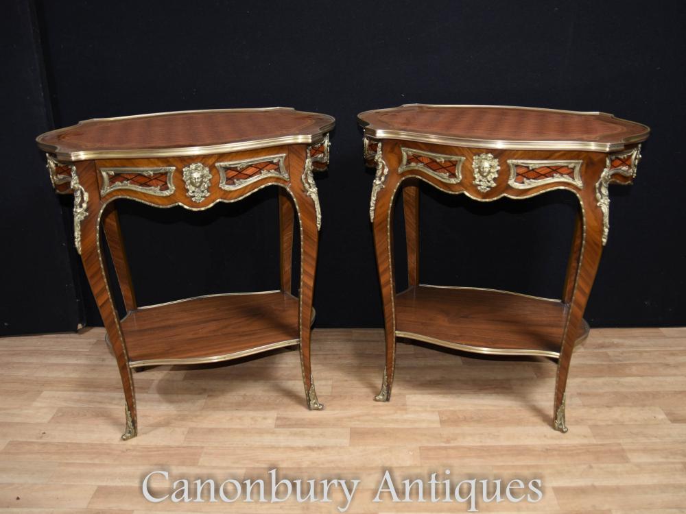pair louis xvi side tables cocktail table furniture. Black Bedroom Furniture Sets. Home Design Ideas