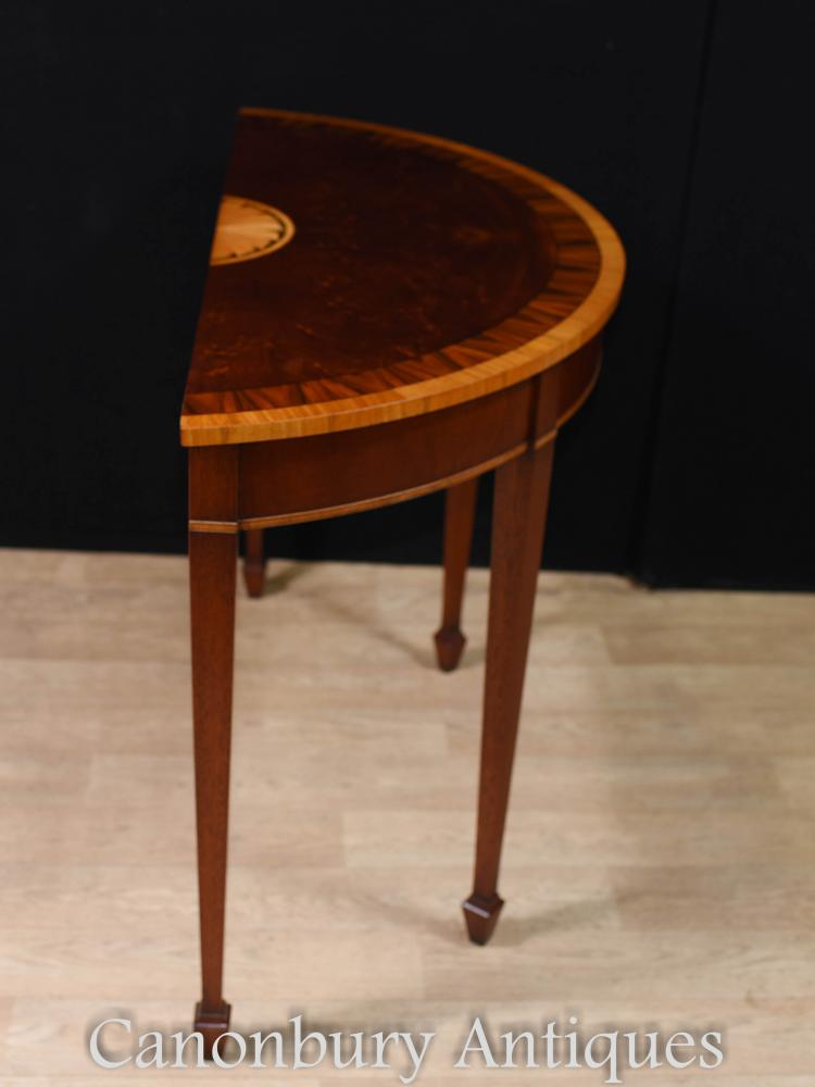 pair mahogany console tables regency demi lune hall table. Black Bedroom Furniture Sets. Home Design Ideas