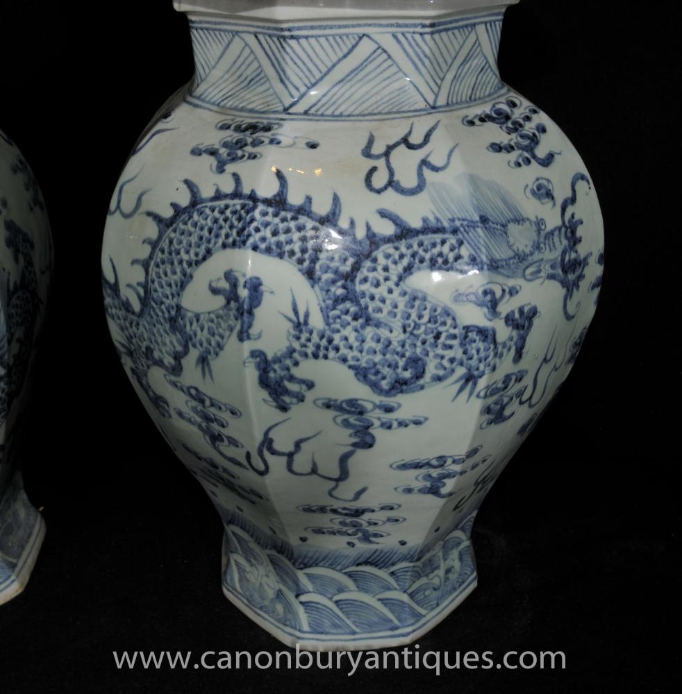 Pair Ming Blue And White Porcelain Temple Jars Vases Urns