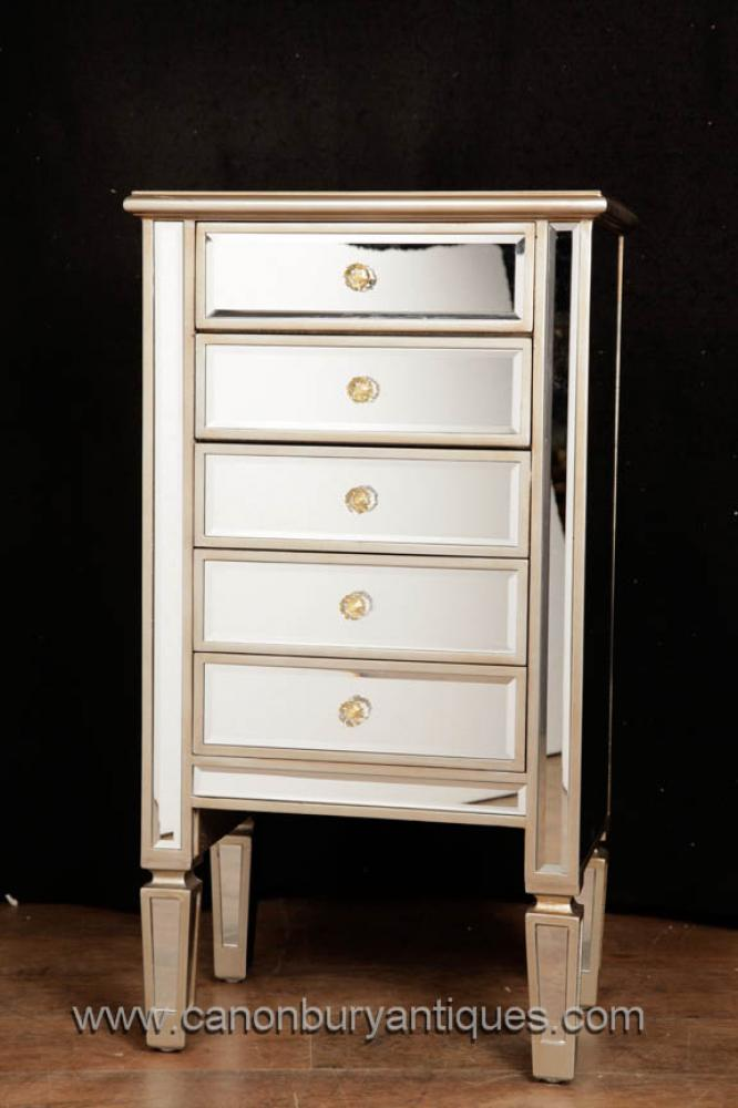 Pair Mirrored Chests Of Drawers Art Deco Nightstands