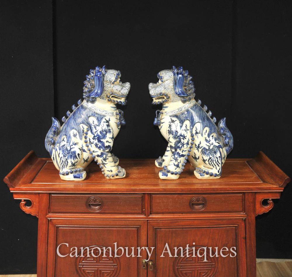 Pair Nanking Blue And White Chinese Porcelain Foo Dogs