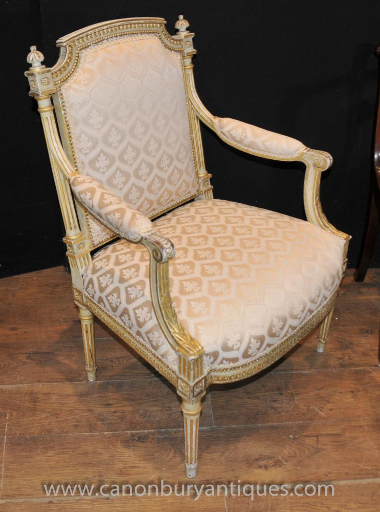 Pair Painted French Empire Arm Chairs Fauteils Painted Chair