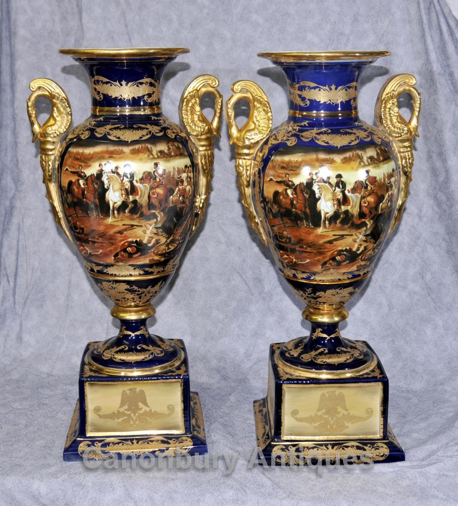Pair Paris Sevres Porcelain Napoleon Amphora Urns Vases