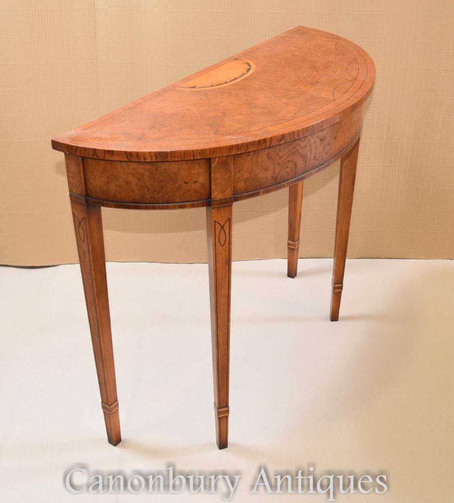 Pair Regency Console Tables Demi Lune Inlay