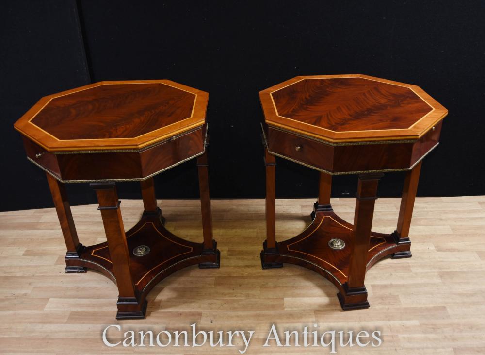Pair Regency Side Tables Octagonal Table Walnut